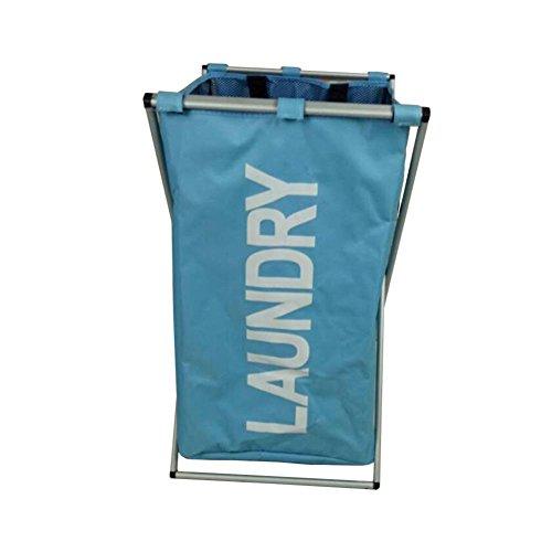 TSAR003 Oxford Cloth Aluminum Frame Folding X Rack Laundry Hamper Or Basket Dirty Clothes Storage  Blue