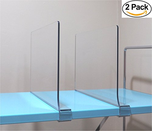 2 Pack Acrylic Shelf Divider By Simba Displays Fits 34 Shelves 12 Length 8 Height Unbreakable PETG Organizing Clothes Books Kitchen Pantry Business Home Organization Durable