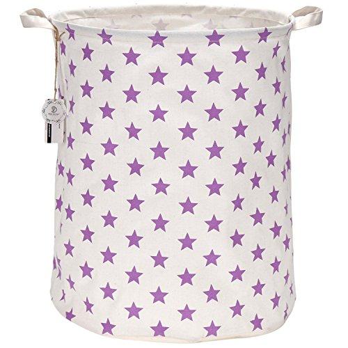 Sea Team 197 Inches Large Sized Waterproof Coating Ramie Cotton Fabric Folding Laundry Hamper Bucket Cylindric Burlap Canvas Storage Basket with Stylish Stars Design 197 Purple Star