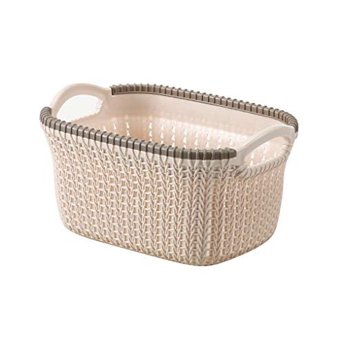Portable laundry basket Storage Basket Nordic Minimalist Style Household Plastic Handle Toy Storage Basket Bathroom Laundry Storage Basket Color  Beige Size  S