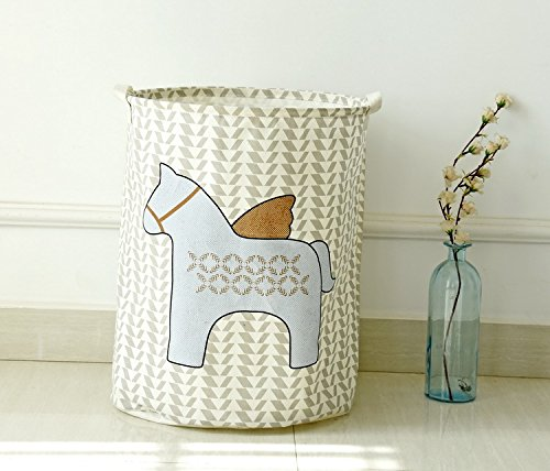Blinedy Horse Pattern Cotton Linen Hamper for Laundry Pop-up Laundry Hamper Laundry Basket Nursery Hamper Laundry Bin Storage Basket for Clothes and Toys grey a
