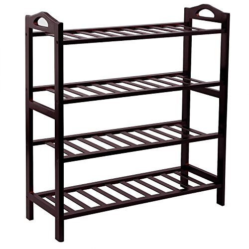 SONGMICS 100 Bamboo 4-Tier Shoe Rack Entryway Shoe Shelf Storage Organizer ULBS94Z