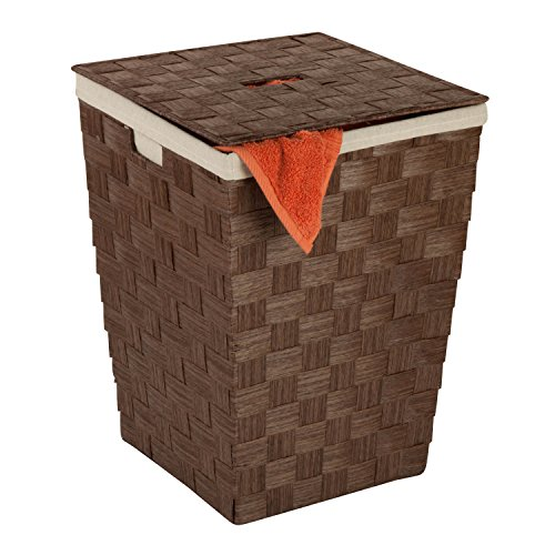 Honey-Can-Do HMP-03729 Woven Hamper with Natural Cotton Liner and Lid Brown 15 by 20