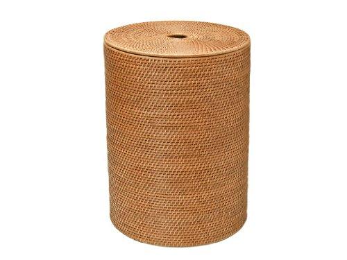 KOUBOO Round Rattan Hamper with Cotton Liner Honey Brown