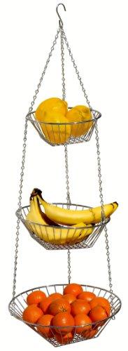 DecoBros 3-Tier Wire Hanging Basket Chrome