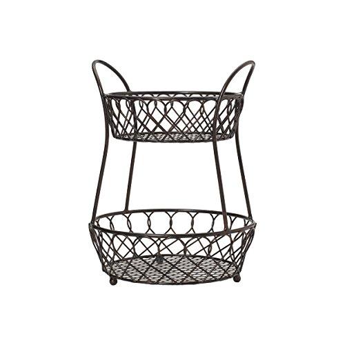Gourmet Basics by Mikasa Loop And Lattice 2-Tier Metal Basket Antique Black