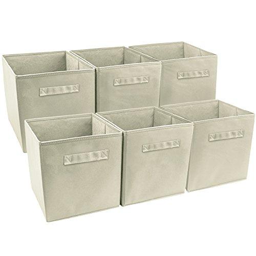 Sorbus Foldable Storage Cube Basket Bin 6 Pack Beige