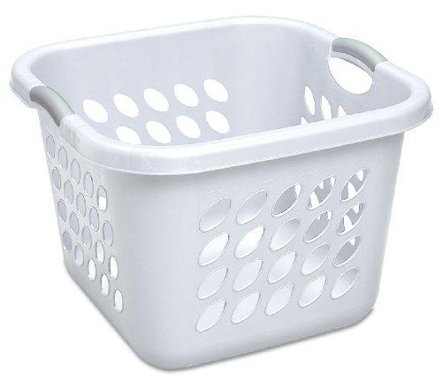 Sterilite 12178006 15 Bushel53 Liter Ultra Square Laundry Basket White Basket w Titanium Inserts 6-Pack