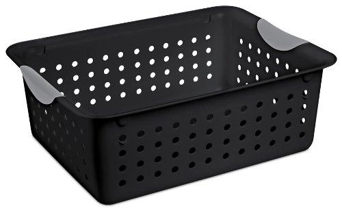 Sterilite 16249006 Medium Ultra Basket Black Basket w Titanium Inserts 6-Pack