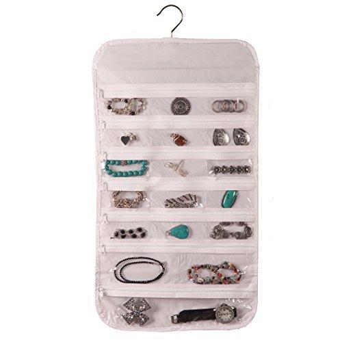 Hanging Jewelry Organizer White 37 Pockets Bedroom Closet Accessory Storage 2-Sets