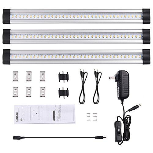 LEDGLE 12W Under Cabinet Strip Light LED Puck Lights Set LED Light for Closets Accessories Included 950lm Daylight White 6000K 3 Pcs