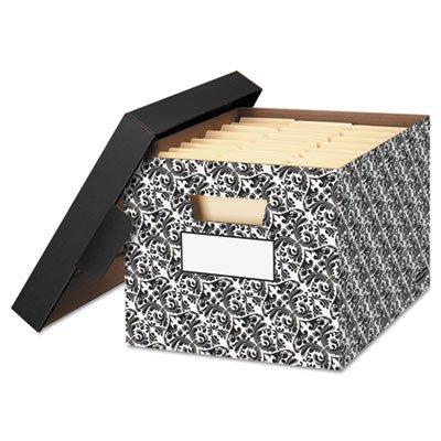 STORFILE Decorative Medium-Duty Storage Boxes Letter BlackWhite Brocade Sold as 4 Each