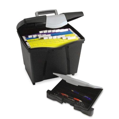 Storex Portable File Storage Box with Drawer Latch Lid Letter Size Black 61523U01C