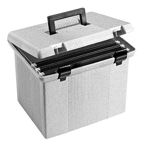 2 x Oxford Portfile Large Portable File Box Granite 11H x 14 W x 11-18 D 41747
