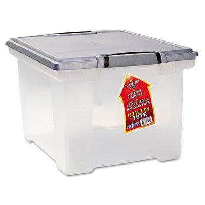 Portable File Tote wLocking Handle Storage Box LetterLegal BlackSilver