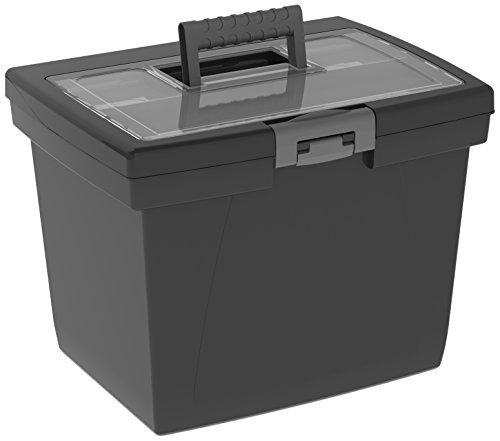 Storex Nesting Portable File Box 107 x 15 x 107 Inches Black Case of 4 STX61522B04C