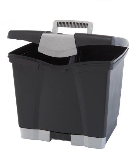 Storex Portable File Box with Bottom Drawer Letter Size Black 61513U01C