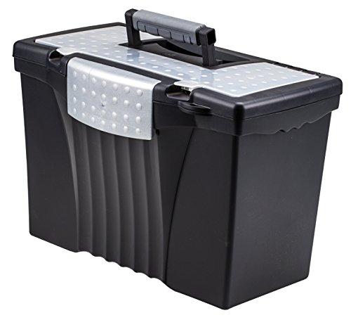 Storex Portable File Box with Organizer Lid 1713 x 963 x 11 Inches LetterLegal Black 61510U01C