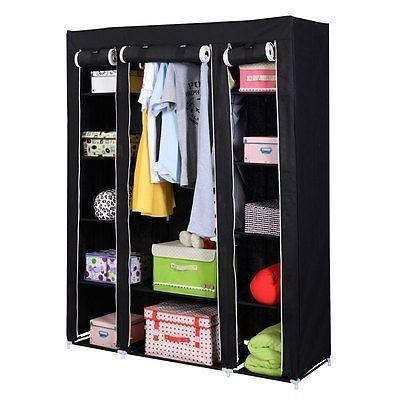 "53"" Portable Closet Wardrobe Clothes Rack Storage Organizer with Shelf Black New"