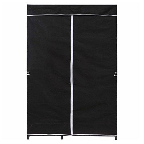 69 Portable Closet Wardrobe Clothes Rack Storage Organizer Shelf Beige Black BLACK