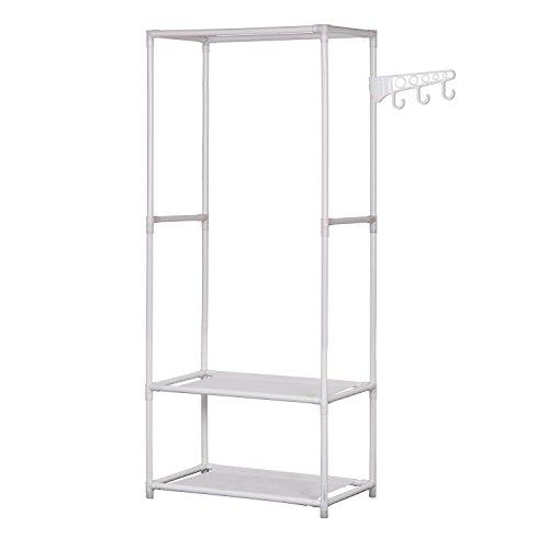 ALEKO SHE58WH Portable Garment Clothes Rack Shelves Organizer Wardrobe 58 Inches Tall White