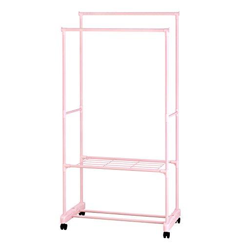 ALEKO SHE62PK Portable Garment Clothes Rack Shelves Organizer Wardrobe 62 Inches Tall Pink