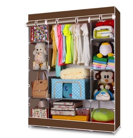 K&A Company Portable Closet Storage Organizer Wardrobe Clothes Rack Systems in Coffee