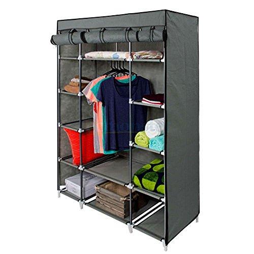 Soogo 53 Portable Closet Storage Organizer Wardrobe Clothes Rack With Shelves Gray
