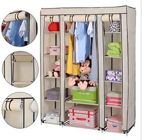 USA Premium Store Beige Portable Closet Storage Organizer Wardrobe Clothes Rack Shelf 53x18x69