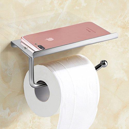 Wall Mount Toilet Paper Holder with Mobile Phone Storage Shelf Heavy Duty Bathroom Toilet Roll Holder Tissue Holder by E-PRANCE Chrome