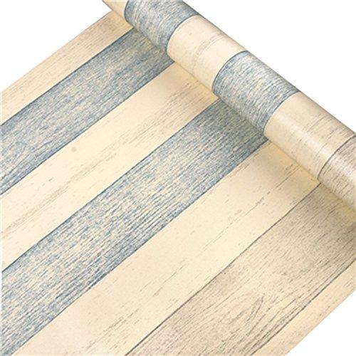 HOYOYO 17x78 Inches Self-Adhesive Shelf Liner PVC Moisture Proof Drawer Paper Shelf Liner Mildew Proof Antifouling Contact Paper Retro Three-tone Wood Grain