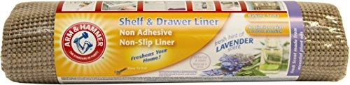 Arm Hammer SLNF1208LV 12 by 8 Non-Slip Lavender Scented Shelf Liner Taupe