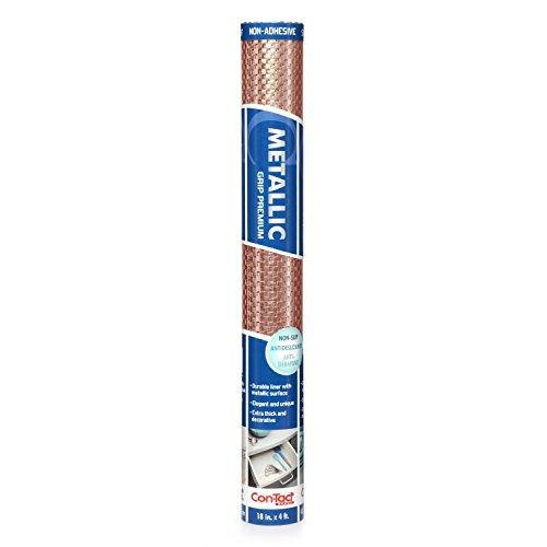 Con-Tact Brand Grip Premium Non-Adhesive Non-Slip Shelf Drawer Liner 18 Inches by 4 Feet Metallic Copper
