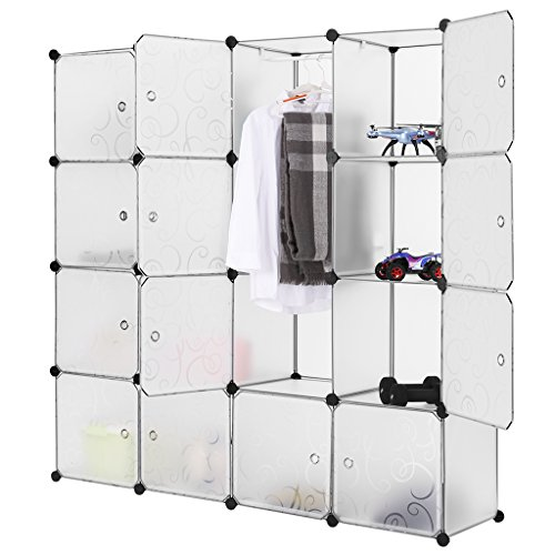 LANGRIA Portable Clothes Closet Wardrobe Freestanding Storage Organizer with doors  large space and sturdy construction White-16 cube