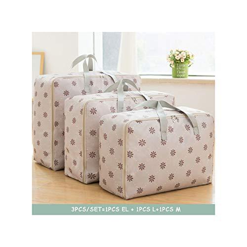 salmoph cadia Waterproof Portable Clothes Storage Bag Organizer Folding Closet for Pillow Quilt Blanket Quilt Bag OrganizerSet-1