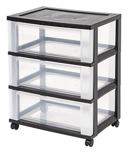 IRIS 3-Drawer Wide Cart Black