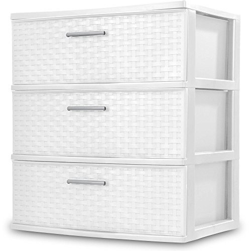 Sterilite 3 Drawers Wide Weave Tower Plastic Storage Organization- White White Wide Drawer