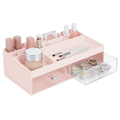 mDesign Wide Plastic Makeup Storage Caddy Organizer for Bathroom Vanity Countertop - 2 Drawers 15 Top Shelf Compartments - Holds Lip Stick Gloss Blush Palettes Brushes Mascara - Blush PinkClear