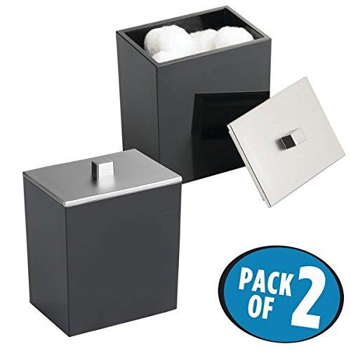 mDesign Bathroom Vanity Canister Jar for Cotton Balls Swabs Cosmetic Pads - Pack of 2 BlackBrushed Nickel