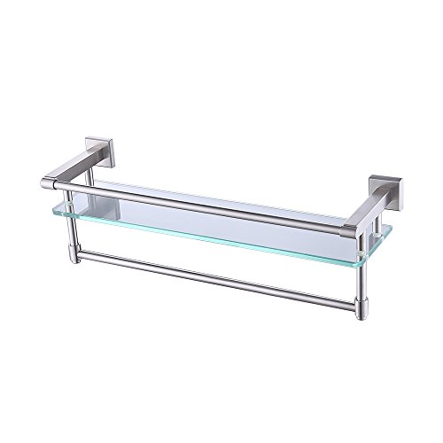 KES Bathroom Glass Shelf with Towel Bar and Rail SUS304 Stainless Steel Brushed Finish Heavy-Duty Rustproof Wall Mount NO Drilling A2225DG-2