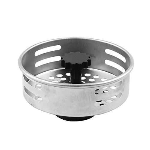 DealMux Stainless Steel Kitchen Sink Garbage Basket Strainer Silver Tone Black
