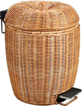 ZZ Rattan-style luxury home trash creative trash foot bathroom waste basket with lid living room kitchen trash can  yellow