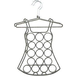 2 Pack Dress Shaped Scarf Organizer  Belt Holder Gray Non Slip Snag Free Hangers