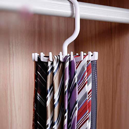 BELUPAID 360 Degree Rotating Tie Rack 5 Piece Set Adjustable Rotation 18 Hooks for Cabinet Storage Rotating Tie Hanger for Men Black