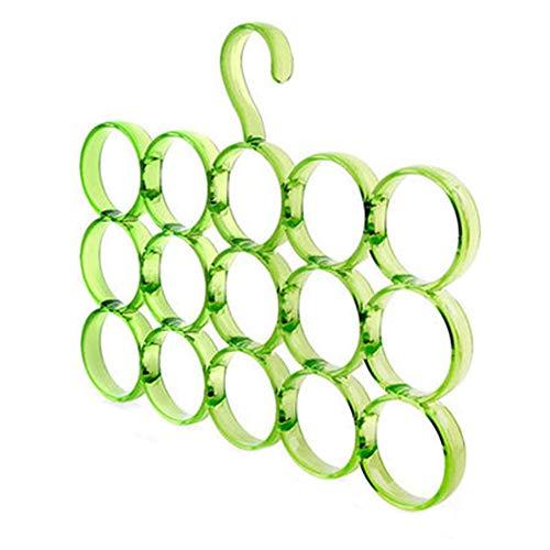 East Majik 2 Pack Tie Rack Hanger Holder 15 Holes Hooks Organizer for Men Green