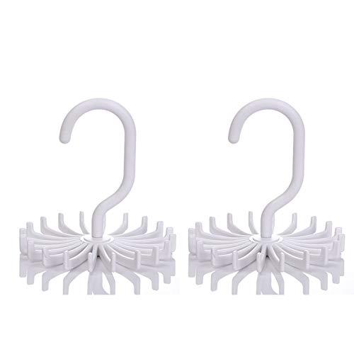 IZUS Tie Belt Rack-Hanger-Holder-Organizer-Hooks Men - 360 Degree Rotating 20 Hooks 2pack White