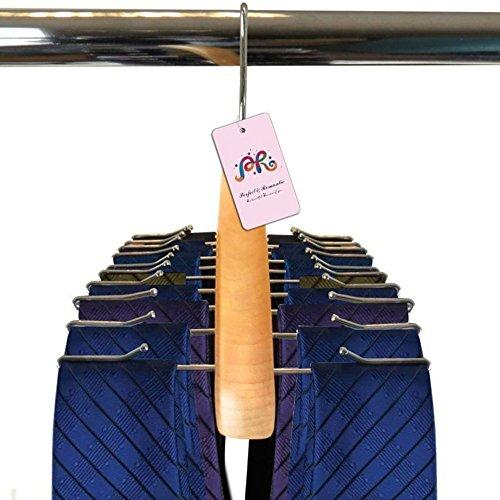 P&R Premium Quality Wooden Tie Hanger for Men Scarves for Women Rack Organizer - Holds 24 Ties-Gift Idea 2