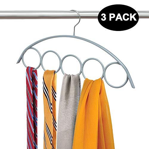 DOIOWN Loop Scarfs Hangers Rack Non Slip Tie Hangers Scarf Organizer Hangers Space Saving Closet Hangers for Scarves Ties Legging Light Grey 3