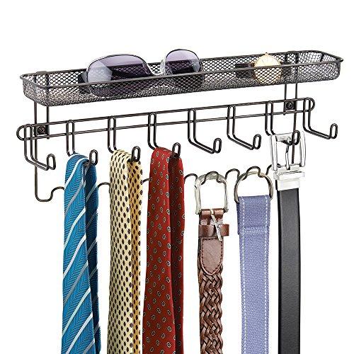 mDesign Closet Organizer Rack with Shelf for Ties Belts - Wall Mount Bronze