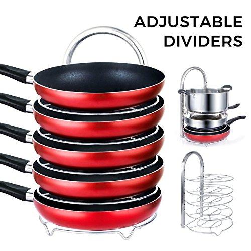 Lifewit Height Adjustable Pan Pot Organizer Rack 5-Tier Cookware Holder for Cabinet Worktop Storage 1810 Stainless Steel